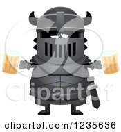 Clipart Of A Drunk Black Knight With Beer Royalty Free Vector Illustration by Cory Thoman
