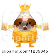 Clipart Of A Drunk Chubby King Knight With Beer Royalty Free Vector Illustration by Cory Thoman