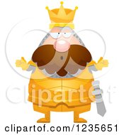 Clipart Of A Careless Shrugging Chubby King Knight Royalty Free Vector Illustration