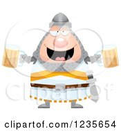 Clipart Of A Drunk Chubby Knight With Beer Royalty Free Vector Illustration by Cory Thoman
