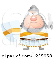 Clipart Of A Mad Chubby Knight Ready For Battle Royalty Free Vector Illustration by Cory Thoman