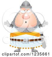 Clipart Of A Careless Shrugging Chubby Knight Royalty Free Vector Illustration