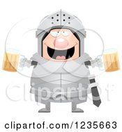 Clipart Of A Drunk Chubby Armoured Knight With Beer Royalty Free Vector Illustration by Cory Thoman