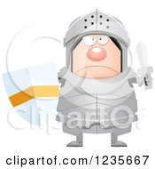 Clipart Of A Mad Chubby Armoured Knight Royalty Free Vector Illustration by Cory Thoman