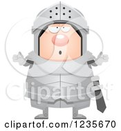 Clipart Of A Careless Shrugging Chubby Armoured Knight Royalty Free Vector Illustration