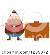 Clipart Of A Chubby Male Lumberjack By A Wood Sign Royalty Free Vector Illustration by Cory Thoman