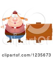 Clipart Of A Chubby Female Lumberjack By A Wood Sign Royalty Free Vector Illustration by Cory Thoman