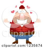 Clipart Of A Chubby Male Lumberjack With Open Arms And Hearts Royalty Free Vector Illustration by Cory Thoman