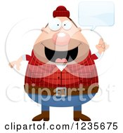 Clipart Of A Chubby Male Lumberjack Talking Royalty Free Vector Illustration by Cory Thoman