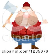 Clipart Of A Mad Chubby Male Lumberjack Holding An Axe Royalty Free Vector Illustration by Cory Thoman