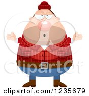 Clipart Of A Careless Shrugging Chubby Male Lumberjack Royalty Free Vector Illustration