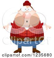 Clipart Of A Surprised Gasping Chubby Male Lumberjack Royalty Free Vector Illustration