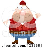 Clipart Of A Friendly Waving Chubby Male Lumberjack Royalty Free Vector Illustration by Cory Thoman