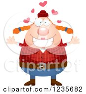 Clipart Of A Chubby Female Lumberjack With Open Arms And Hearts Royalty Free Vector Illustration by Cory Thoman