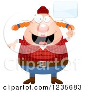Clipart Of A Chubby Female Lumberjack Talking Royalty Free Vector Illustration by Cory Thoman