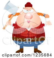Clipart Of A Mad Chubby Female Lumberjack Holding An Axe Royalty Free Vector Illustration by Cory Thoman