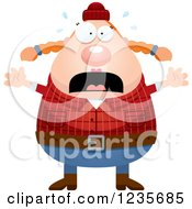 Clipart Of A Scared Screaming Chubby Female Lumberjack Royalty Free Vector Illustration by Cory Thoman