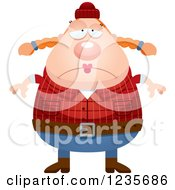 Clipart Of A Depressed Chubby Female Lumberjack Royalty Free Vector Illustration by Cory Thoman