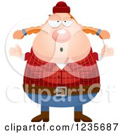 Clipart Of A Careless Shrugging Chubby Female Lumberjack Royalty Free Vector Illustration