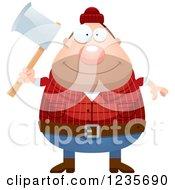 Chubby Male Lumberjack Holding An Axe
