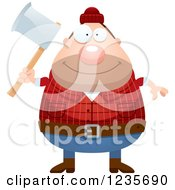Clipart Of A Chubby Male Lumberjack Holding An Axe Royalty Free Vector Illustration by Cory Thoman