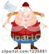 Clipart Of A Chubby Female Lumberjack Holding An Axe Royalty Free Vector Illustration by Cory Thoman