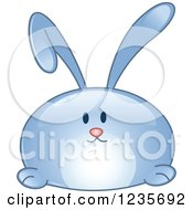 Clipart Of A Blue Reflective Bunny Rabbit Royalty Free Vector Illustration