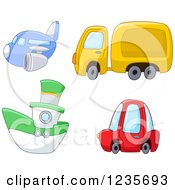 Clipart Of A Cute Airplane Big Rig Boat And Car Royalty Free Vector Illustration by yayayoyo