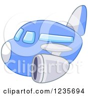 Clipart Of A Cute Blue Commercial Airliner Plane Royalty Free Vector Illustration