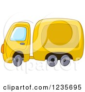 Clipart Of A Cute Yellow Big Rig Truck Royalty Free Vector Illustration