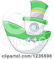 Clipart Of A Cute Green And White Boat Royalty Free Vector Illustration