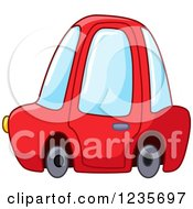 Clipart Of A Cute Red Compact Car Royalty Free Vector Illustration