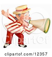 Poster, Art Print Of 3d Carnival Barker Announcing With A Megaphone