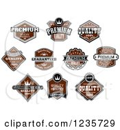 Clipart Of Brown Quality Guarantee Labels Royalty Free Vector Illustration
