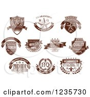 Clipart Of Brown Quality Guarantee Labels 2 Royalty Free Vector Illustration