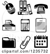 Clipart Of Black And White Office Icons Royalty Free Vector Illustration