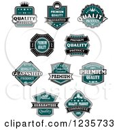 Clipart Of Teal Quality Guarantee Labels Royalty Free Vector Illustration