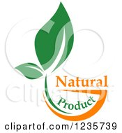 Clipart Of A Bowl With A Green Leaf And Natural Product Text Royalty Free Vector Illustration