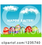 Clipart Of A Happy Easter Greeting With Eggs And A Blue Sky Royalty Free Vector Illustration by Vector Tradition SM