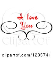 Clipart Of A Black Swirl And Red I Love You Text 2 Royalty Free Vector Illustration