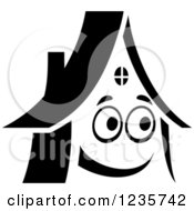 Clipart Of A Black And White Happy Home Character Royalty Free Vector Illustration