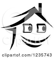 Clipart Of A Black And White Happy Home Character 2 Royalty Free Vector Illustration
