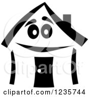Clipart Of A Black And White Happy Home Character 3 Royalty Free Vector Illustration