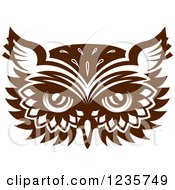 Clipart Of A Brown Owl Face 2 Royalty Free Vector Illustration