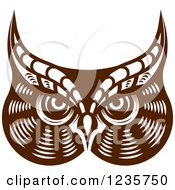 Clipart Of A Brown Owl Face Royalty Free Vector Illustration