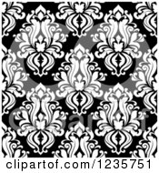 Clipart Of A Seamless Black And White Damask Background Pattern 10 Royalty Free Vector Illustration