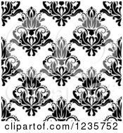 Clipart Of A Seamless Black And White Damask Background Pattern 9 Royalty Free Vector Illustration