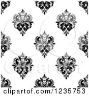 Clipart Of A Seamless Black And White Damask Background Pattern 8 Royalty Free Vector Illustration