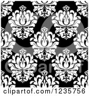 Clipart Of A Seamless Black And White Damask Background Pattern 11 Royalty Free Vector Illustration