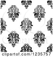 Clipart Of A Seamless Black And White Damask Background Pattern 12 Royalty Free Vector Illustration